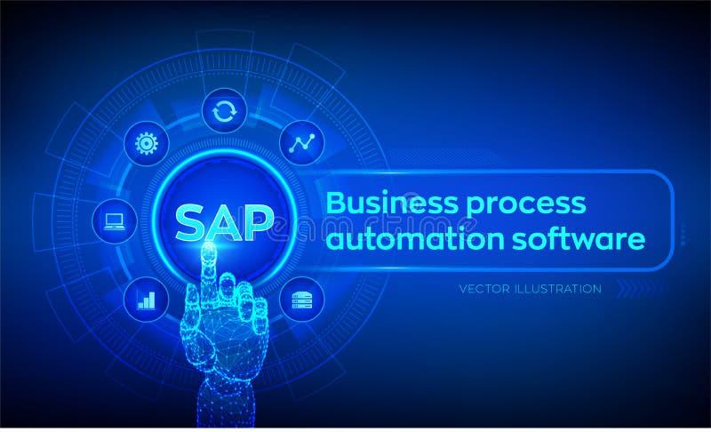 SAP-de software van de Bedrijfsprocesautomatisering ERP ondernemingsresourcen die systeemconcept op het virtuele scherm plannen R stock illustratie