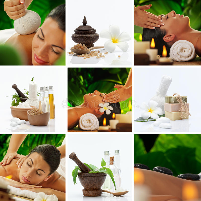 Sap mix. Spa theme photo collage composed of different images stock image