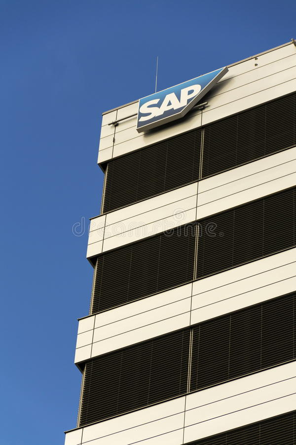 SAP multinational software corporation logo on Czech headquarters building on February 5, 2017 in Prague, Czech republic. stock image