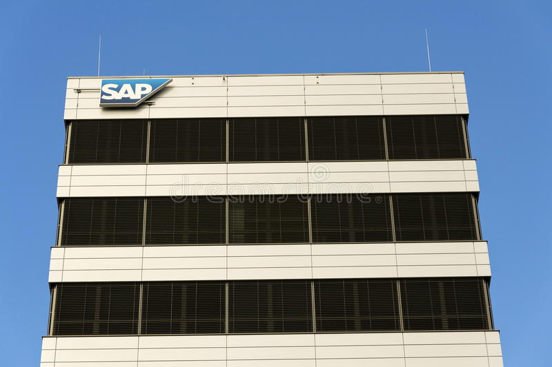 SAP multinational software corporation logo on Czech headquarters building on February 5, 2017 in Prague, Czech republic. stock images