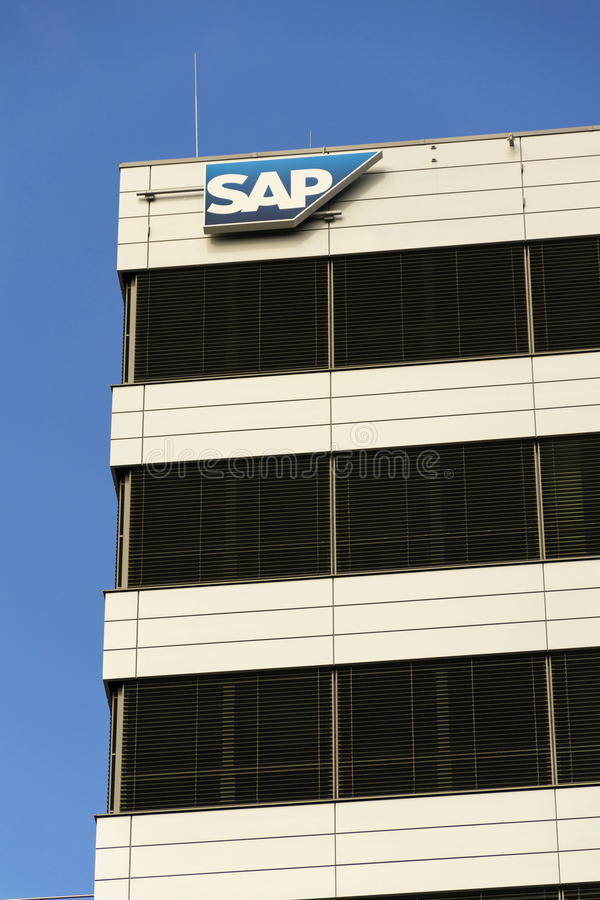 SAP multinational software corporation logo on Czech headquarters building on February 5, 2017 in Prague, Czech republic. royalty free stock image