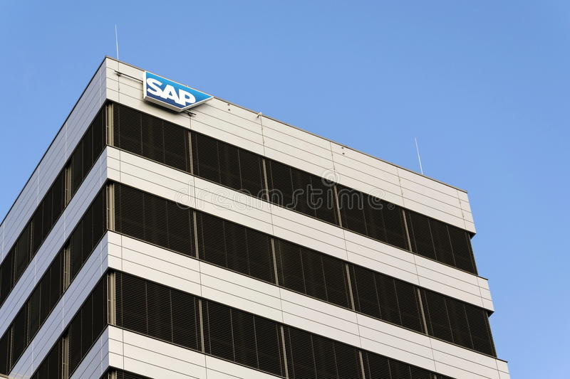 SAP multinational software corporation logo on Czech headquarters building on February 5, 2017 in Prague, Czech republic. stock photos