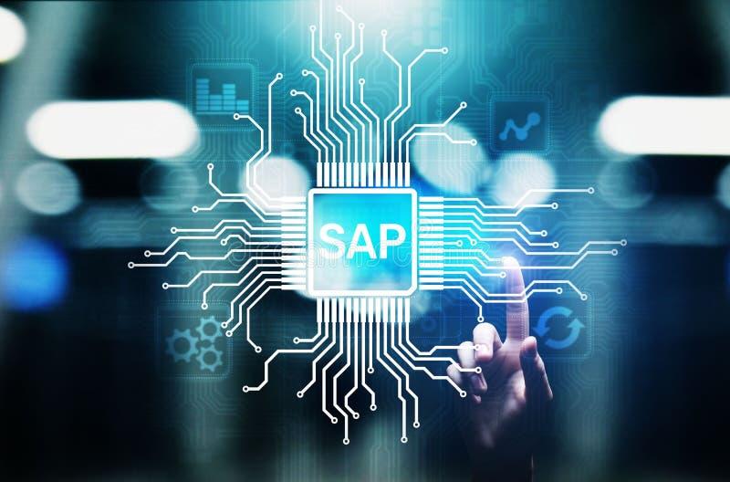 SAP - Rozwój biznesu automatyzacji oprogramowanie ERP przedsięwzięcia zasobów planowania systemu pojęcie na wirtualnym ekranie obraz royalty free
