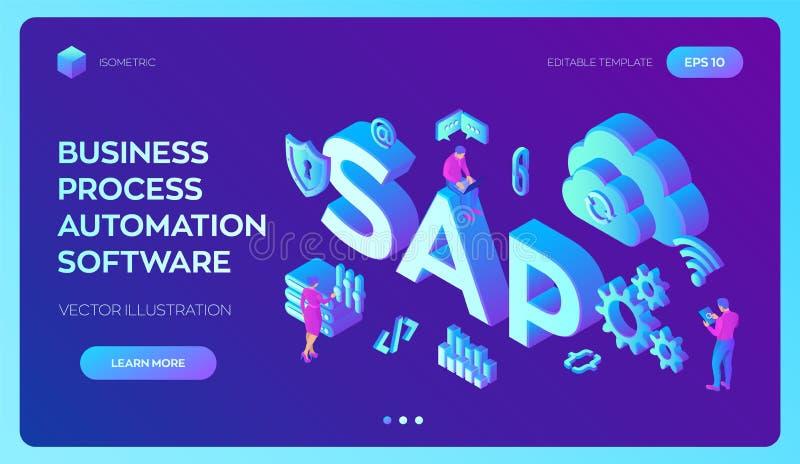 SAP rozw?j biznesu automatyzacji oprogramowanie ERP przedsięwzięcia zasobów planowania systemu pojęcie Technologia proces oprogra ilustracji