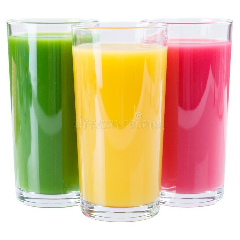Sap smoothie smoothies op wit wordt geïsoleerd dat stock fotografie