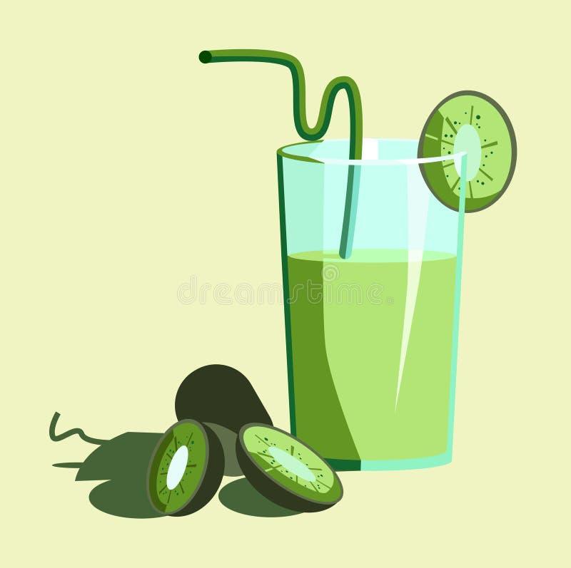 Sap van kiwi met een glas met en een paar plakken stock illustratie