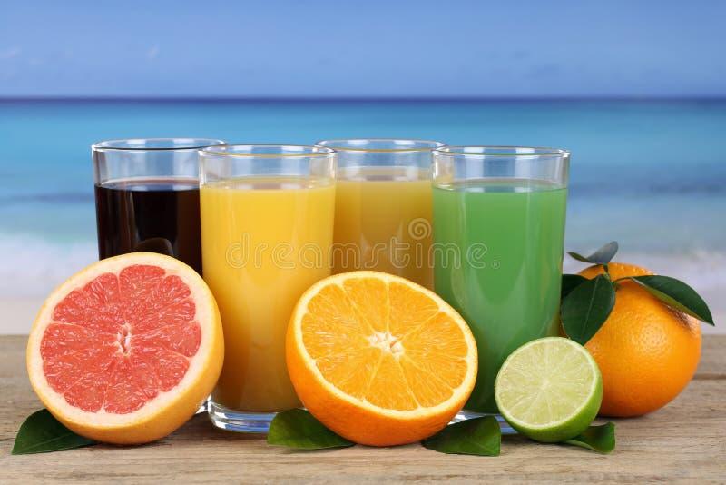 Sap van sinaasappelen en grapefruit op het strand stock fotografie