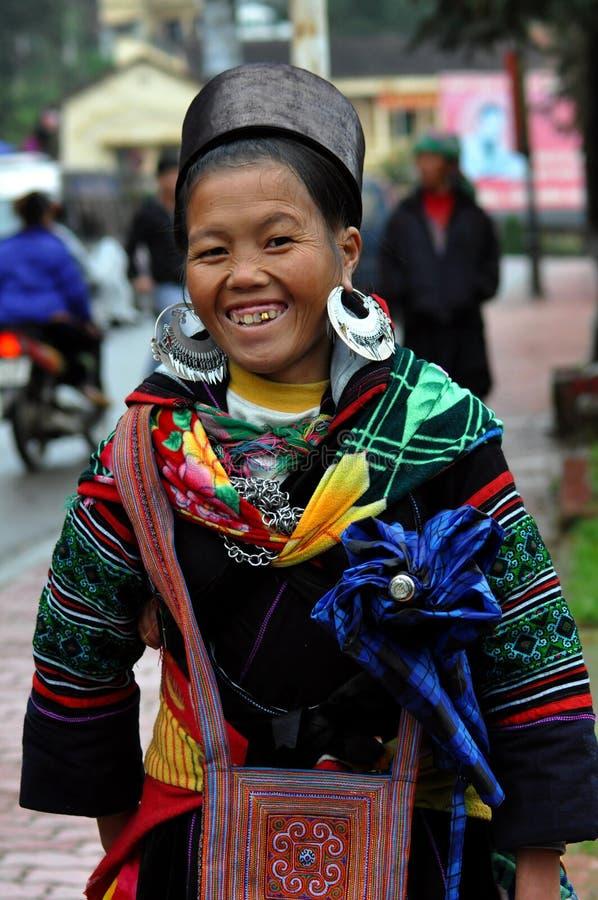 Black Hmong woman in traditional clothes, Sapa, Vietnam stock photos