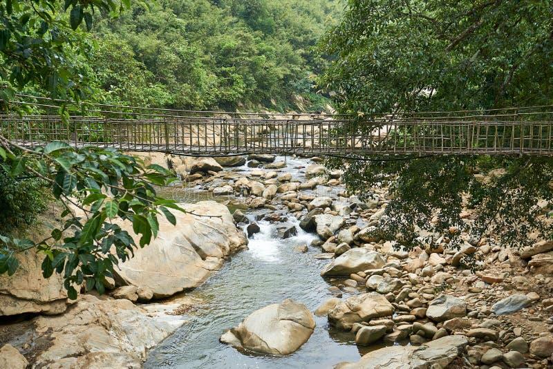sapa?? - 22 mai 2019? 在老挝人柴sapa valey的竹桥梁在越南 库存图片