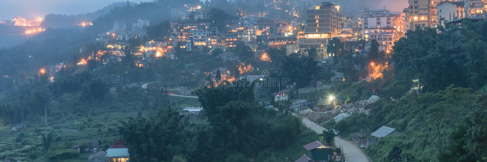 Sapa mountain town in northern Vietnam at twilight royalty free stock photography
