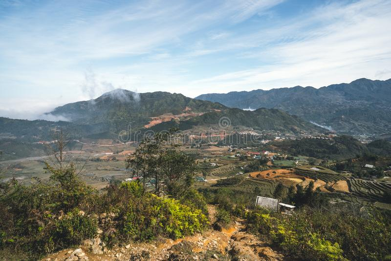 sapa Vietnam Hoang Lien park narodowy Op??niona zima, wczesna wiosna Rice tarasy na górach zdjęcie stock