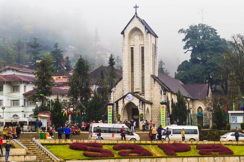 SAPA, VIETNAM - JAN 1 2018: Stone Church at downtown in Sapa, Vietnam. Sapa is a beautiful, mountainous town in northern Vietnam a stock photos