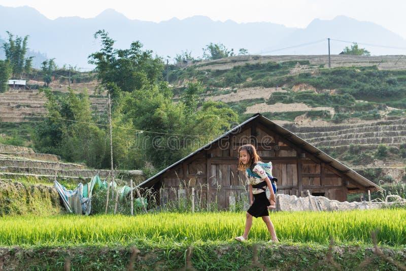 Sapa, Vietnam - Mei 2019: het meisje van de etnische Groep van Hmong in traditionele kleding vervoert baby in een slinger in Lao  stock foto
