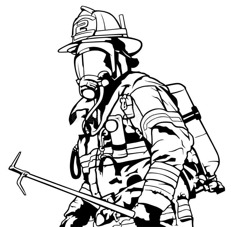 Sapador-bombeiro com máscara ilustração royalty free