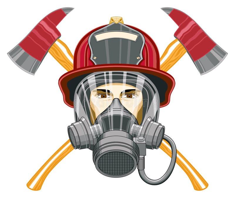 Sapador-bombeiro com máscara e machados ilustração do vetor