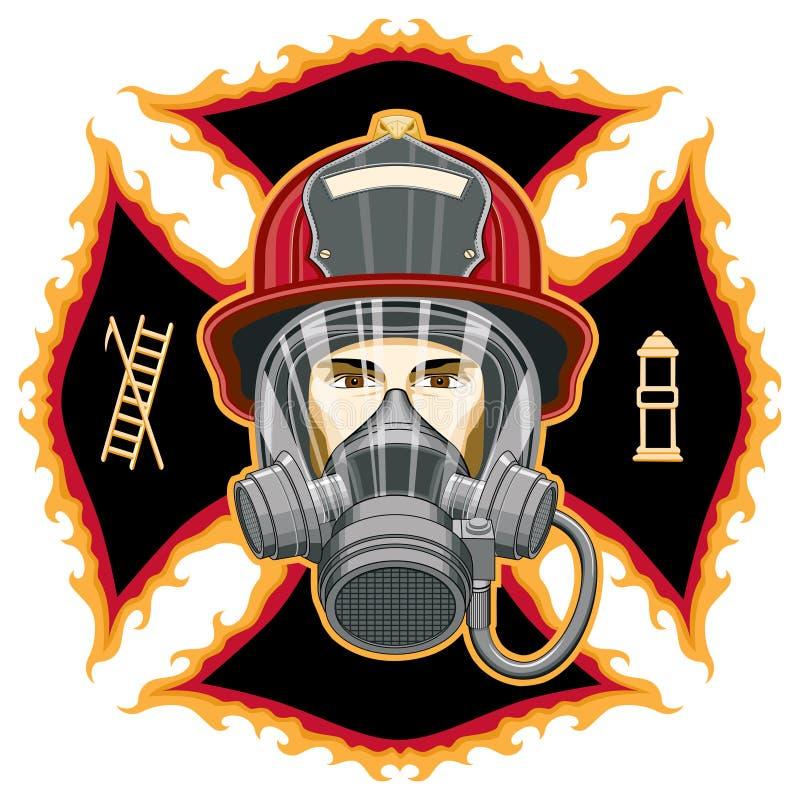 Sapador-bombeiro com máscara na cruz ilustração do vetor