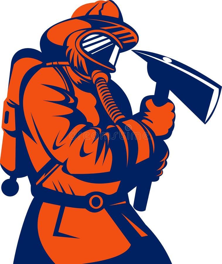 Sapador-bombeiro com machado ilustração do vetor