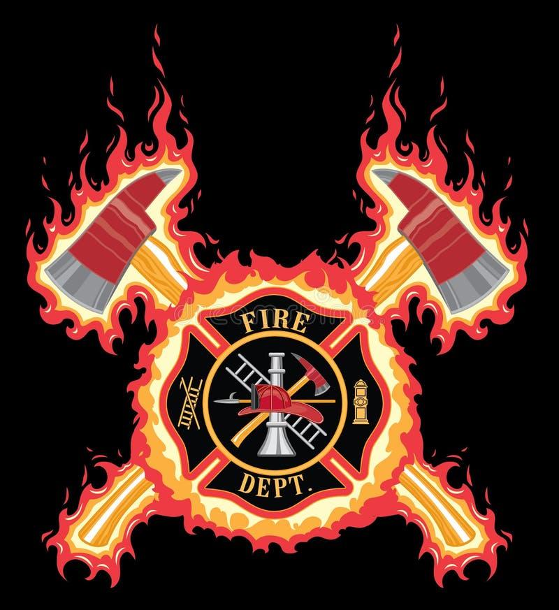 Sapador-bombeiro Cross With Axes e chamas ilustração do vetor