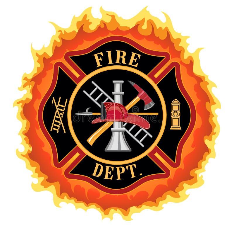 Sapador-bombeiro Cross With Flames ilustração do vetor