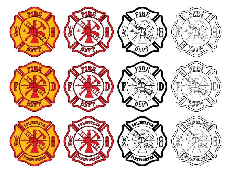 Sapador-bombeiro Cross Symbol ilustração stock