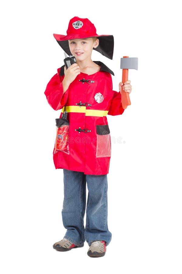 Sapador-bombeiro do miúdo fotos de stock royalty free