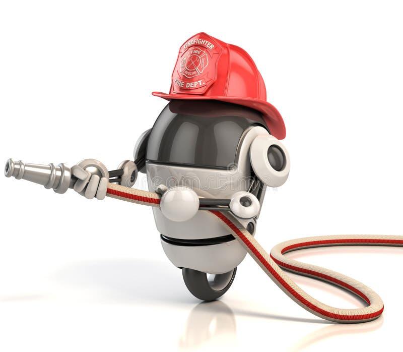 sapador-bombeiro do robô 3d ilustração stock