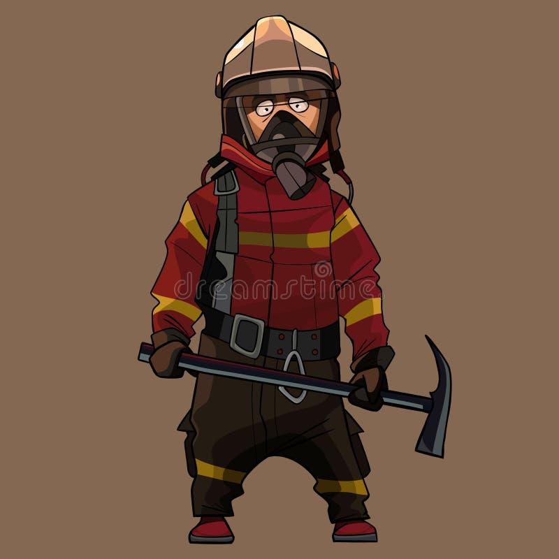 Sapador-bombeiro dos desenhos animados no uniforme com a picareta nas mãos ilustração stock