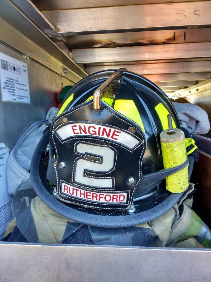 Sapador-bombeiro Helmet, Rutherford do motor 2, NJ, EUA fotografia de stock royalty free