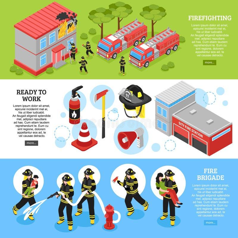 Sapador-bombeiro isométrico Banners ilustração stock
