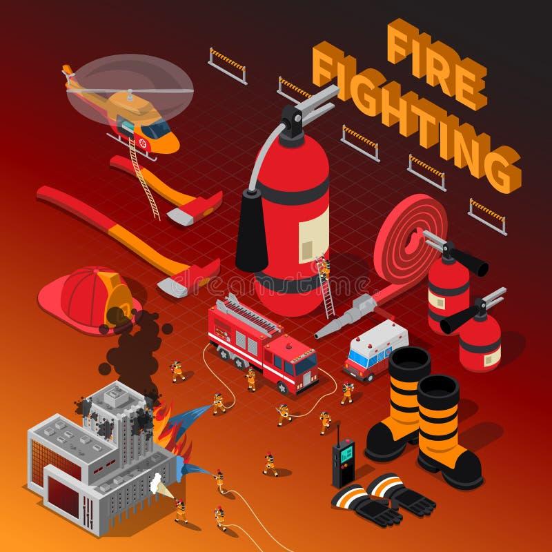 Sapador-bombeiro Isometric Composition ilustração do vetor