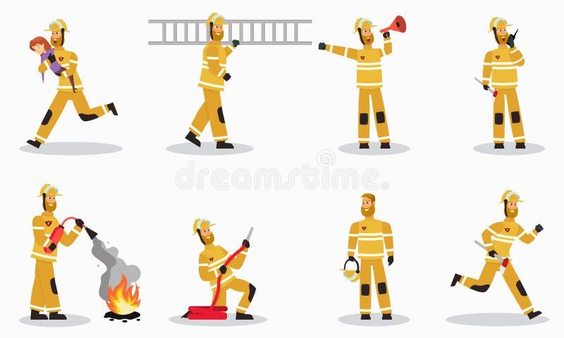 Sapador-bombeiro nos caráteres do vetor dos desenhos animados do trabalho ajustados ilustração stock