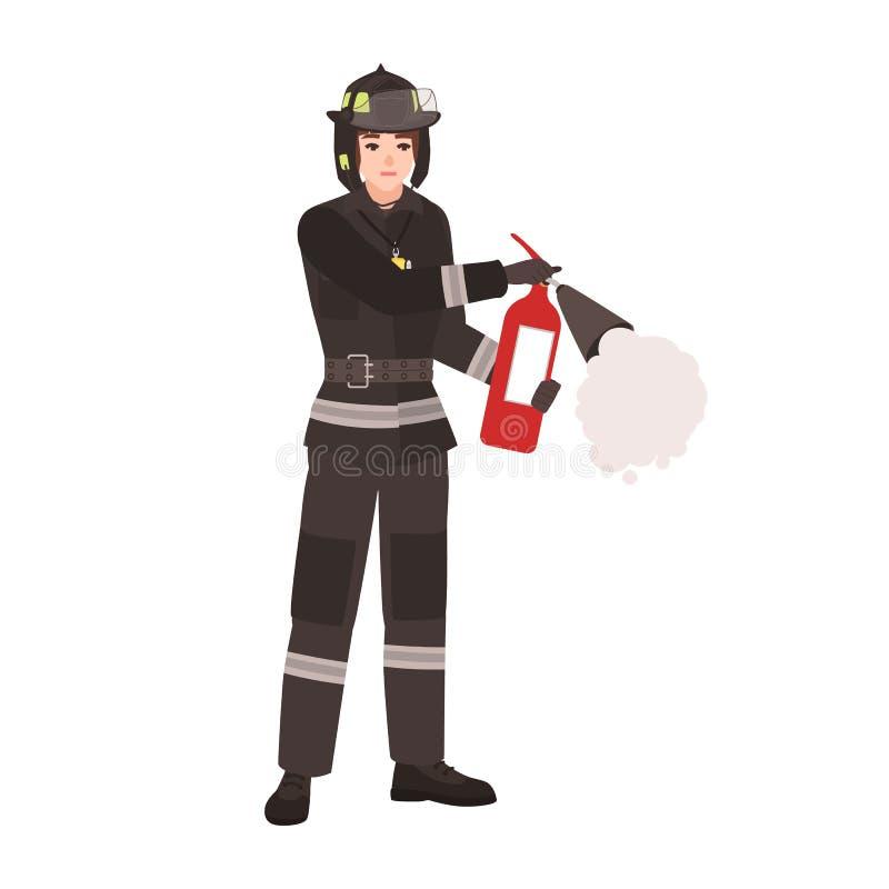 Sapador-bombeiro, bombeiro ou salvador vestindo o uniforme protetor à prova de fogo, capacete e guardando o extintor Desenhos ani ilustração do vetor