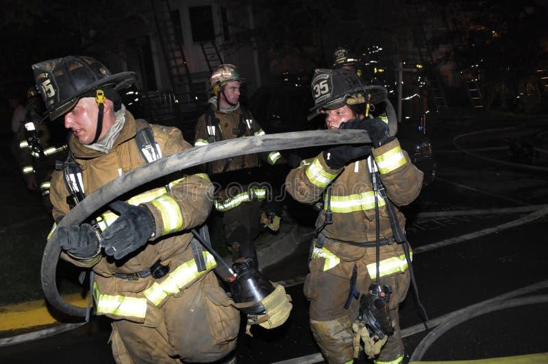 Sapador-bombeiro que leva uma linha de mangueira carregada a um lugar melhor imagem de stock royalty free