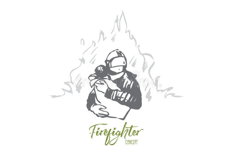 Sapador-bombeiro, segurança, fogo, criança, conceito do salvamento Vetor isolado tirado m?o ilustração royalty free