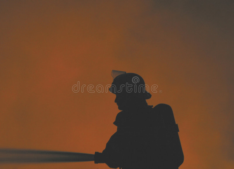 Download Sapador-bombeiro solitário foto de stock. Imagem de queimado - 58654