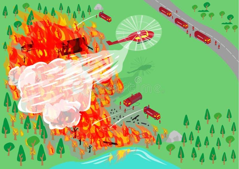 Sapadores-bombeiros através dos dispernses do ar e do transporte de terra Clipart editável ilustração royalty free
