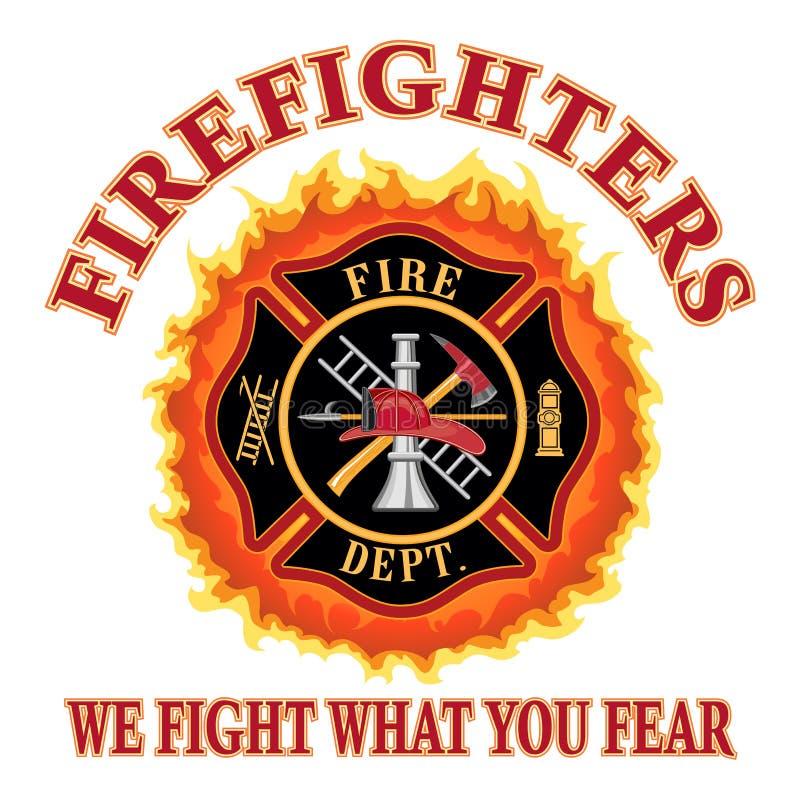 Sapadores-bombeiros nós lutamos o que você teme ilustração stock
