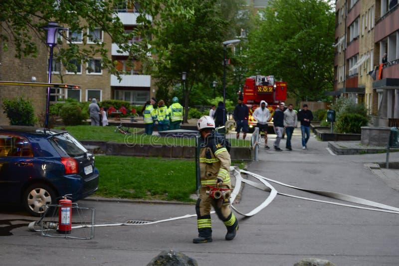 Sapadores-bombeiros na cena, Suécia foto de stock