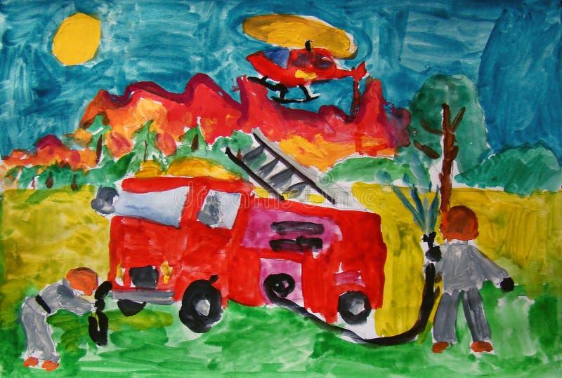 Sapadores-bombeiros no trabalho pintado pela criança ilustração do vetor