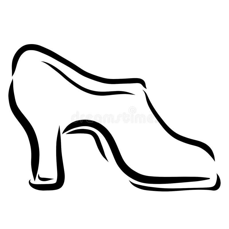A sapata alto-colocada saltos das mulheres, esboço preto ilustração do vetor