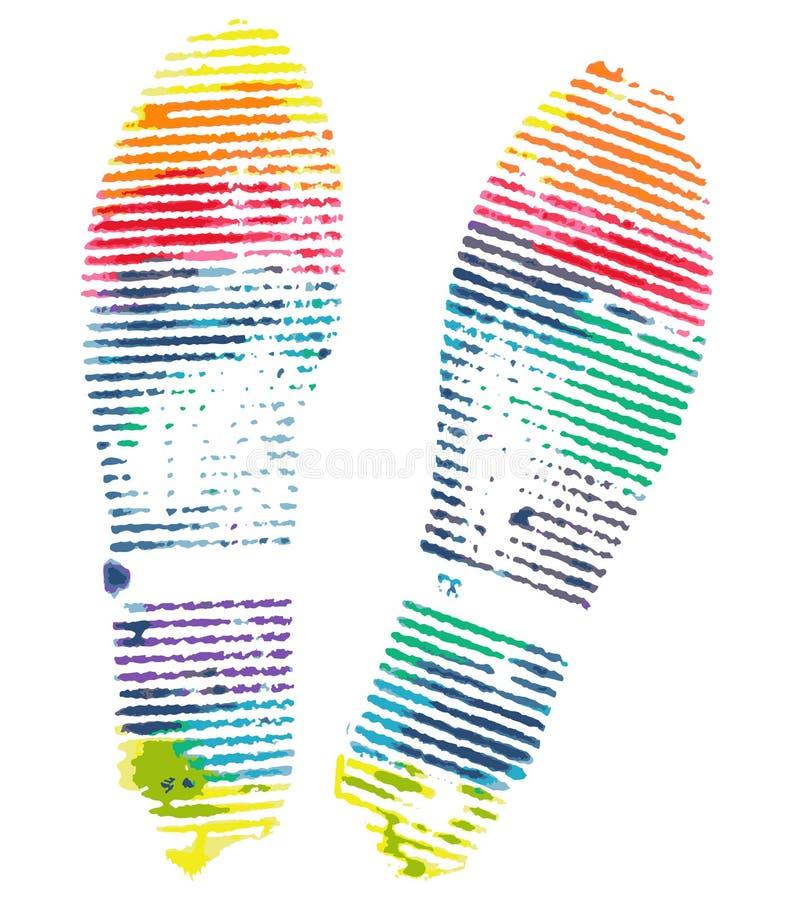 Sapata brilhante da pegada do arco-íris isolada no fundo branco ilustração stock