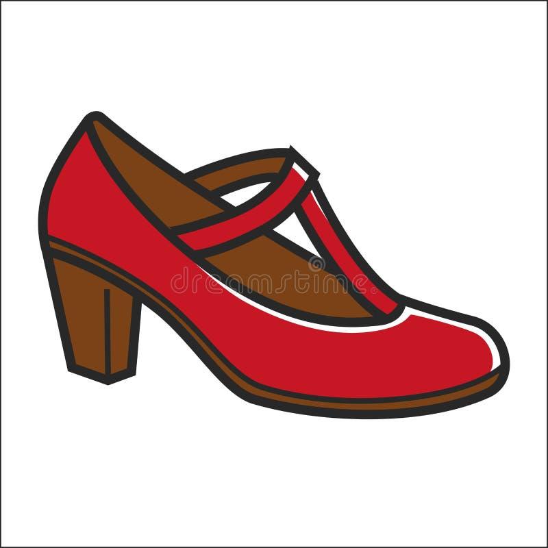 Sapata da mulher no salto na cor vermelha isolado no branco ilustração stock