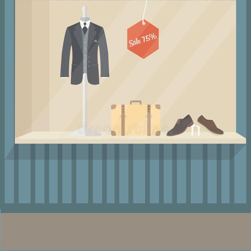 A sapata e o saco do manequim da exposição da parte dianteira da loja da forma do terno do homem não esvaziam nenhum pessoa ilustração do vetor
