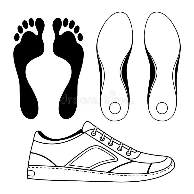 Sapata & solas esboçadas preto das sapatilhas ilustração stock