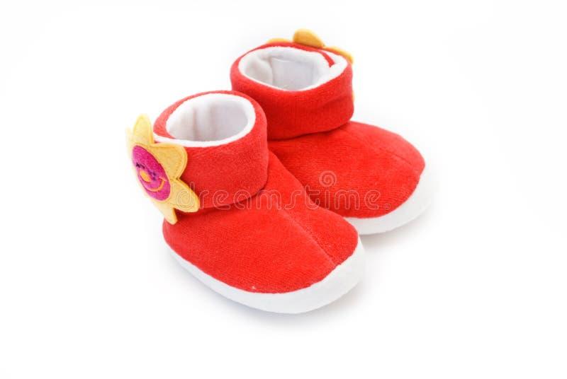 Sapata vermelha do bebê imagem de stock