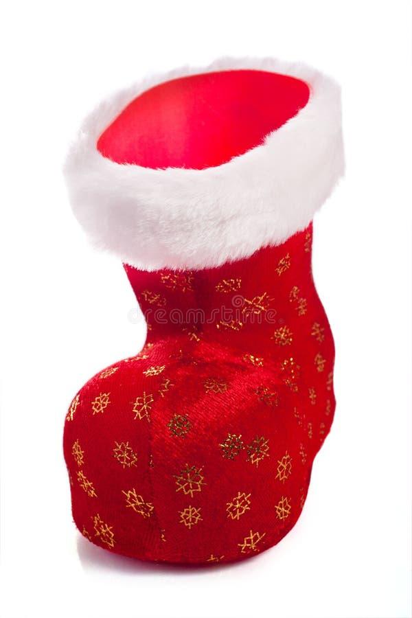 Sapata vermelha vazia de Santa isolada sobre o branco foto de stock