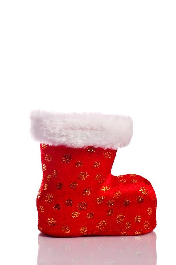 Sapata vermelha vazia de Santa isolada sobre o branco imagens de stock