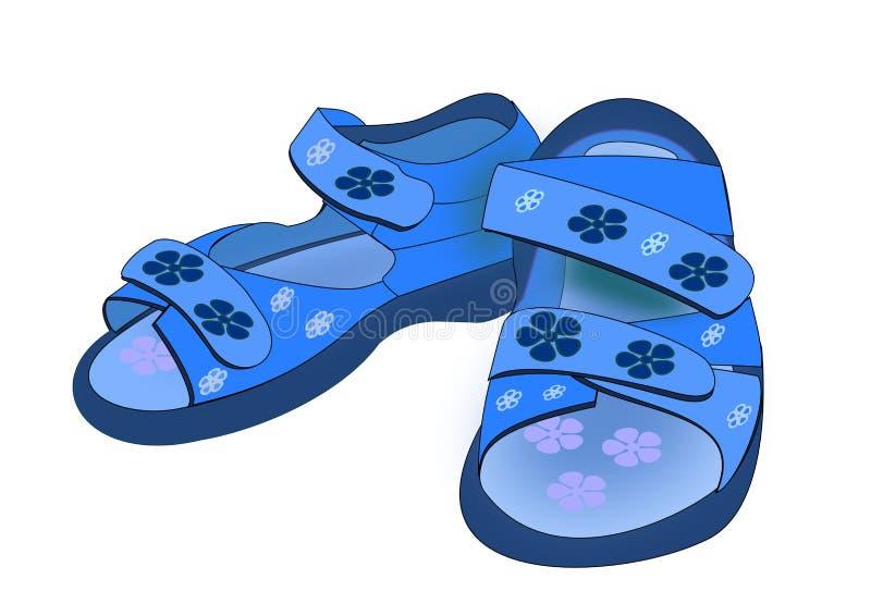 Sapatas azuis bonitos ilustração royalty free