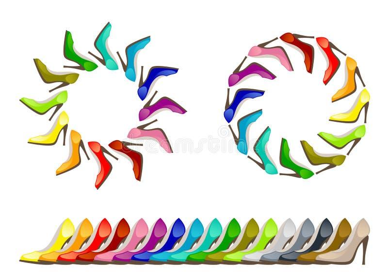 Sapatas coloridas ilustração royalty free