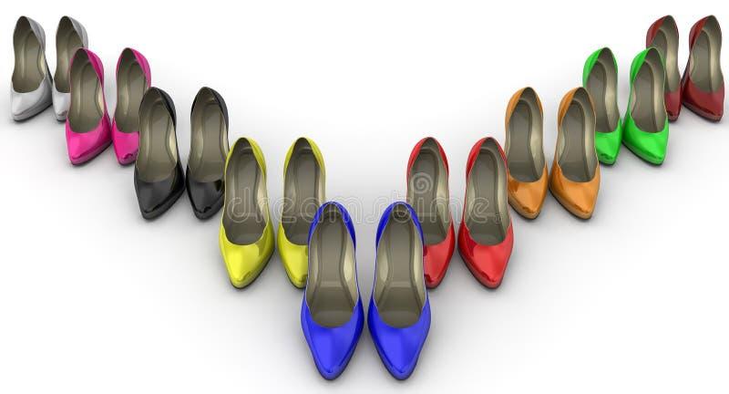 Sapatas coloridos do ` s das mulheres com saltos altos ilustração do vetor